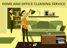 Vector a casa ed insegna di concetto di servizio di pulizia dell'ufficio royalty illustrazione gratis