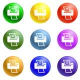 Vector casero moderno del sistema de los iconos de impresora stock de ilustración