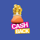 Vector cash back icon with coins and wallet Stock Image