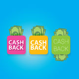 Vector cash back icon isolated on blue background. Royalty Free Stock Photo