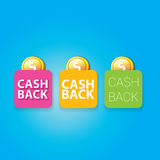 Vector cash back icon isolated on blue background. Royalty Free Stock Photography
