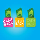 Vector cash back icon isolated on blue background. Stock Photo