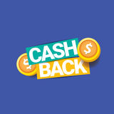 Vector cash back icon isolated on blue background. Royalty Free Stock Photos