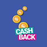 Vector cash back icon isolated on blue background. Stock Image