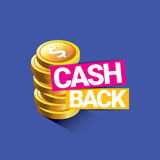 Vector cash back icon isolated on blue background. Stock Photography