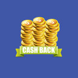 Vector cash back icon isolated on blue background. Royalty Free Stock Images