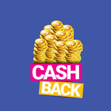 Vector cash back icon isolated on blue background. Royalty Free Stock Image