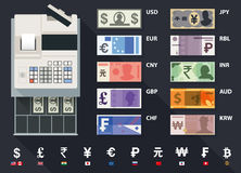 Vector cash register. Set of currencies including a top view of a cash register and global currency symbols vector illustration
