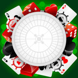Vector casino background. With cardes, dices and roulette Royalty Free Illustration