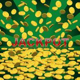 Vector casino background. Falling coins on green background with Jackpot word. Royalty Free Stock Photos