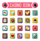 Vector casino flat icons, slot machine Stock Images