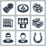 Vector casino and gambling icons set Stock Photos
