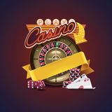 Vector casino icon. Detailed icon representing casino roulette, dices, cards with neon sign and empty ribbon for your text royalty free illustration