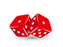 Vector casino illustration two red dice Royalty Free Stock Photos