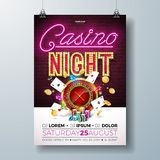 Vector Casino night flyer illustration with gambling design elements and shiny neon light lettering on brick wall. Background. Lighting signboard, roulette vector illustration