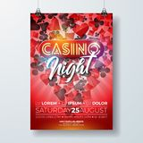 Vector Casino night flyer illustration with gambling design elements and shiny neon light lettering on red background Stock Photo