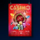 Vector Casino night flyer illustration with roulette wheel and shiny neon light lettering on red background. Luxury. Gambling invitation poster template design Stock Photo