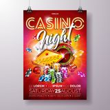Vector Casino night flyer illustration with roulette wheel and shiny neon light lettering on red background. Luxury. Gambling invitation poster template design Royalty Free Stock Photo