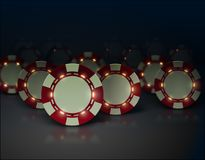 Vector casino poker chips with luminous lights elements. Dark background, glossy surface. White and red color. Group of objects Stock Photos