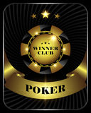 Vector casino poker gold chip, template for design backgrounds, cards, logo. Royalty Free Stock Image