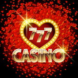 Vector casino poster with heart romantic theme Royalty Free Stock Photo