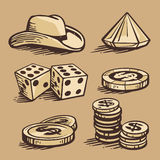 Vector casino symbols and stetson. Set vintage handmade illustration. Stock Photography