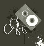 Vector cassette, grunge style royalty free illustration