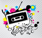 Vector Cassette Tape. Cassette Tape with Ink Splash Royalty Free Stock Photos