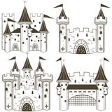 Vector castle collection. Vector illustration of four different black castles royalty free illustration