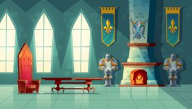 Vector castle hall, interior of royal ballroom. With throne, table, fireplace and knight armor. Luxury furniture in medieval palace. Fantasy, fairy tale or game royalty free illustration
