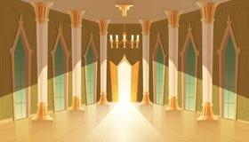 Vector castle hall, interior of royal ballroom. Vector castle hall, interior of ballroom for dancing, presentation or royal reception. Big room with chandelier vector illustration