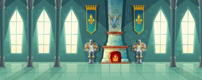 Vector castle hall, interior of royal ballroom. With fireplace, knight armor, flags for dancing. Big room with columns, pillars in luxury medieval palace stock illustration