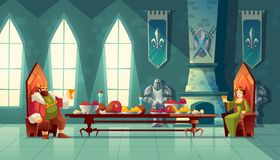 Vector feast concept, king, queen eats food. Vector castle hall with king and queen eat lunch. Feast table with food, banquet party. Interior of royal ballroom stock illustration