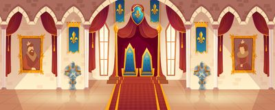 Vector castle throne hall, interior of royal ballroom. Vector castle hall with two thrones for king and queen. Interior of ballroom with guards in knight armor vector illustration