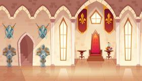 Vector castle throne hall, interior of royal ballroom. Vector castle hall with windows. Interior of royal ballroom with throne, table and guards in knight armor vector illustration