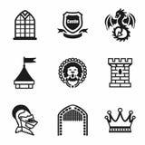 Vector Castle icon set Royalty Free Stock Photo
