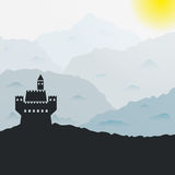 Vector castle in the mountains. Ancient castle silhouette in the mountains. Vector illustration Royalty Free Stock Photo