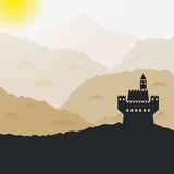 Vector castle in the mountains. Ancient castle silhouette in the mountains. Vector illustration Royalty Free Stock Images
