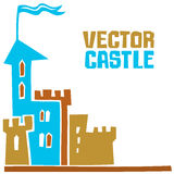 Vector castle. Simple fantastic Tower, Vector castle. Use it for Exterior construction design: city buildings, tourist signs. Beautiful old town cottage and Royalty Free Stock Photography