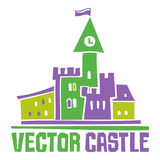 Vector castle. Simple fantastic Tower, Vector castle. Use it for Exterior construction design: city buildings, tourist signs. Beautiful old town cottage and Stock Photo