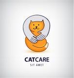 Vector cat care, pet shop illustration, logo. Stock Photo