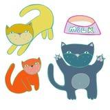 Vector cat collection. Cartoon design style stock illustration