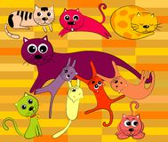 Vector Cat and Family Royalty Free Stock Photos