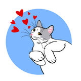 Vector cat illustration hearts Royalty Free Stock Photos
