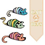 Vector cat`s toys - mouses vector illustration