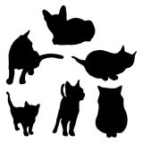 Vector cat silhouette set Stock Images