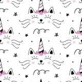 Vector Cat unicorn Caticorn seamless pattern
