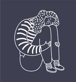 Vector catoon illustration of sad girl sitting and unhappily hugging her knees and cry. Woman in depression. Vector cartoon illustration of sad girl sitting and Royalty Free Stock Photos