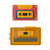 Vector catroon retro tape player and cassette Stock Images