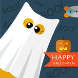 Vector cats elements. Vector color happy halloween gost cat. Eps 10 Royalty Free Stock Photo